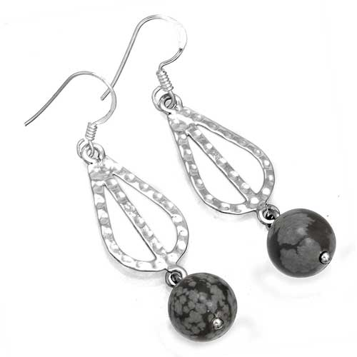 Wholesale Extended Line of Wholesale Earrings (Product ID = 7853_E_Snow_Flake_Obsidian_5.00)