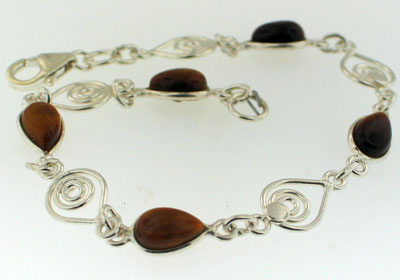Wholesale Silver Bracelets with Gemstones (Product ID = ber18car)