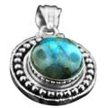 Wholesale Silver & Brass Pendants with Natural Gemstones (Product ID = psb32lb)