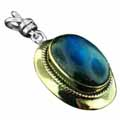 Wholesale Silver & Brass Pendants with Natural Gemstones (Product ID = psb474lb)