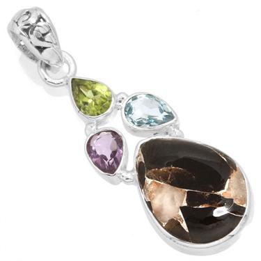 Sterling silver Agage-Peridot-Topaz-Garnet Pendant ID=12255