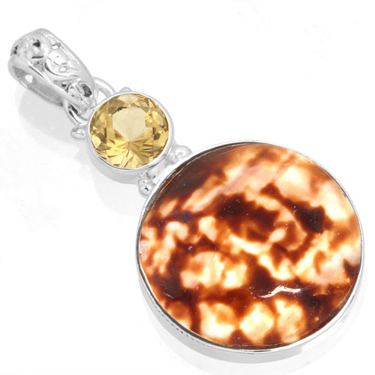Sterling silver Shell & Topaz (5ctw) Pendant ID=12337