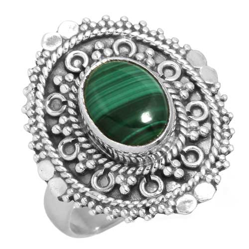 wholesale Wholesale Sterling silver gemstone ring (14999_R7.5_Malachite_4.50)
