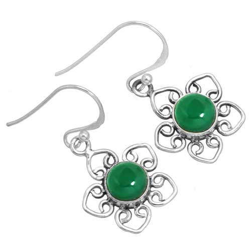 Sterling silver Green Onyx (10mm) Earring ID=26285_1