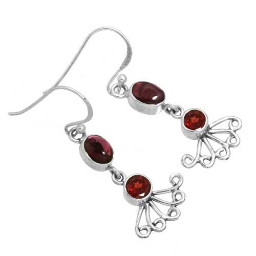 Sterling silver Garnet Earring ID=26296_1