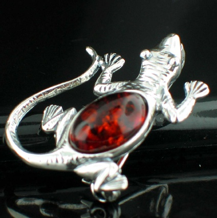 wholesale Baltic Amber Silver Jewelry (AMB_Brooch14Lizard)