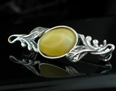 wholesale Baltic Amber Sterling Silver Jewelry (amb_br30Y)