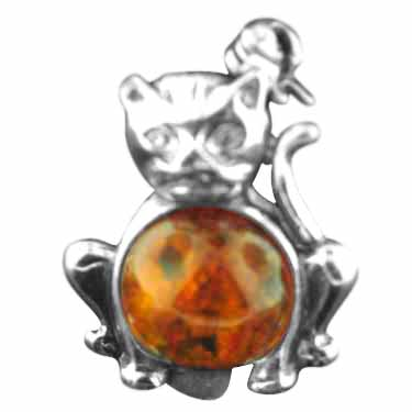 Sterling silver Amber Cat Brooch (pin) pendant ID=amb_br_cat