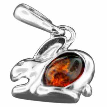 Sterling silver Baltic Amber Rabbit Charm pendant ID=amb_charm_rabbit