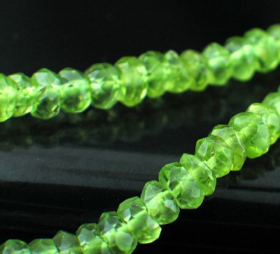 Sterling silver Peridot Beads (4mm - rondelle) GemstoneBead ID=beads_prf_rond