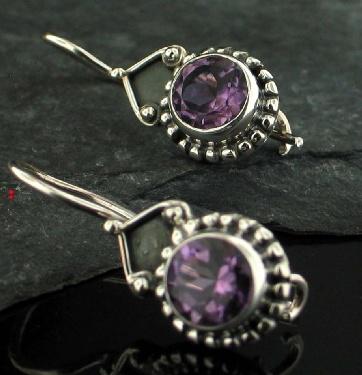 Sterling silver Amethyst (1ctw) Earring ID=ee01amef