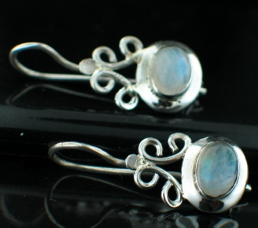 Sterling silver Rainbow Moonstone (8x11mm) Earring ID=ee06rm