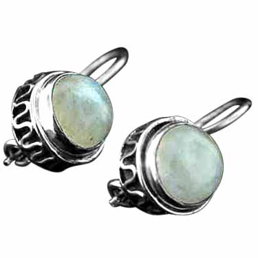 Sterling silver Rainbow Moonstone (6mm) Earring ID=ee205rm