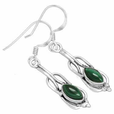 Sterling silver Malachite Earring ID=ee233ml