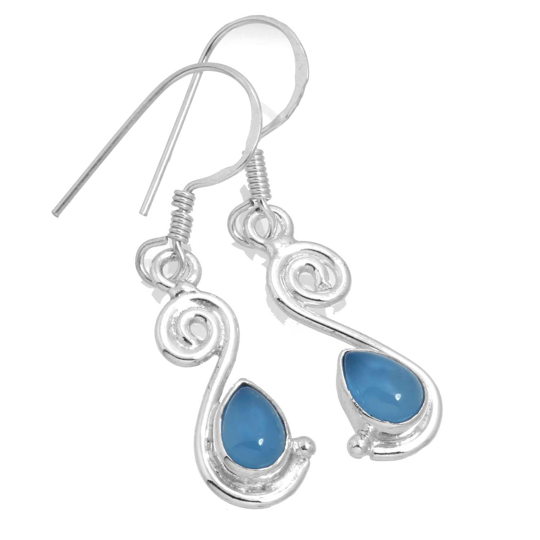 Sterling silver Blue Chalcedony (5x8mm) Earring ID=ee519bl