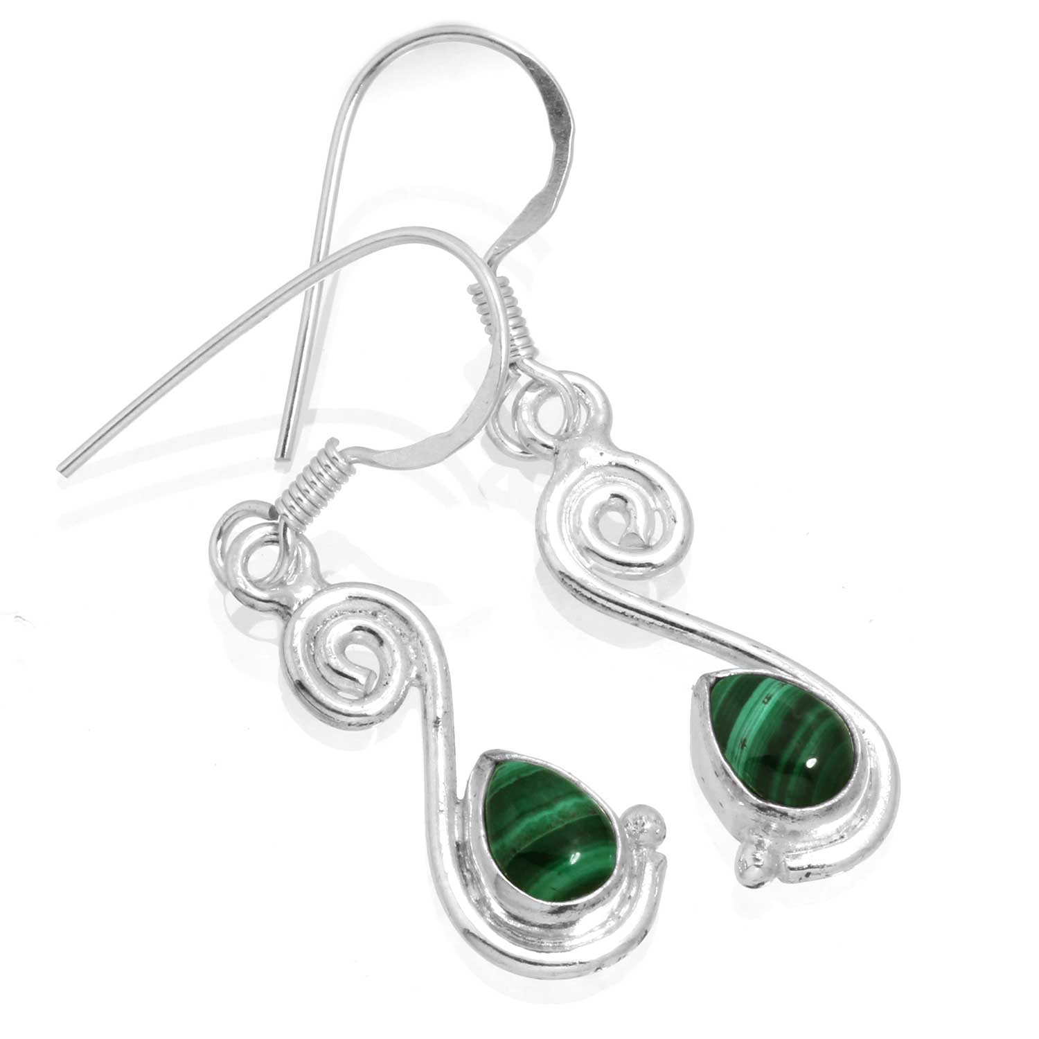 Sterling silver Malachite (7x10mm) Earring ID=ee519ml