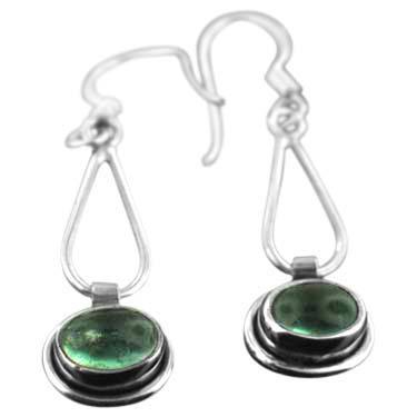 Sterling silver Fluourite  (4x6mm) Earring ID=ee601fl