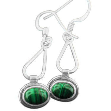 Sterling silver Malachite  (4x6mm) Earring ID=ee601ml