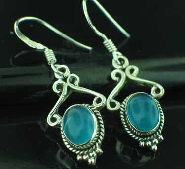 Sterling silver Blue Chalcodeny (6x9mm) Earring ID=ee645bl