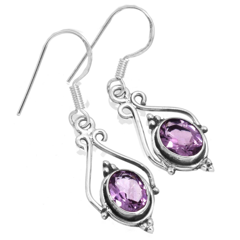 Sterling silver Amethyst (4ctw) Earring ID=ee661amef