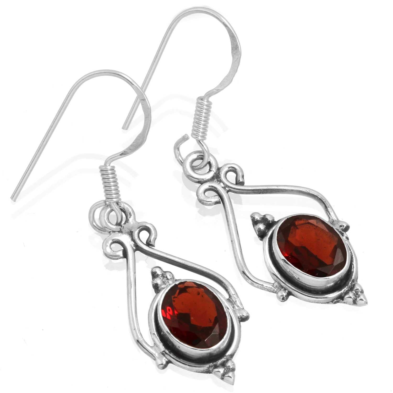 Sterling silver Garnet (4ctw) Earring ID=ee661grf
