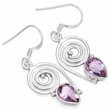 Sterling silver Amethyst Earring ID=ee700amef