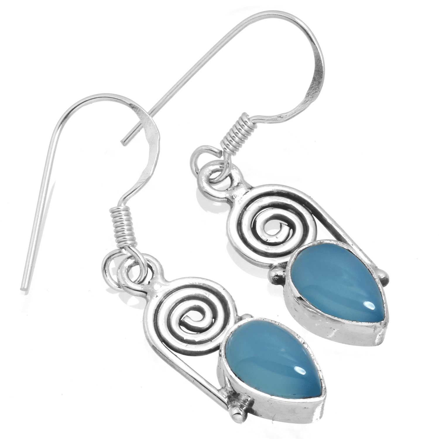 Sterling silver Blue Chalcodeny Earring ID=ee700bl