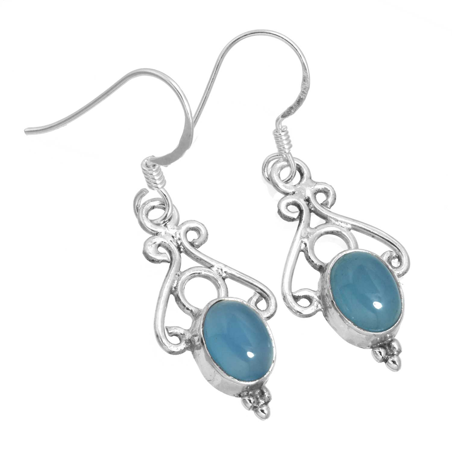 Sterling silver Blue Chalcedony (7x10mm) Earring ID=ee816bl