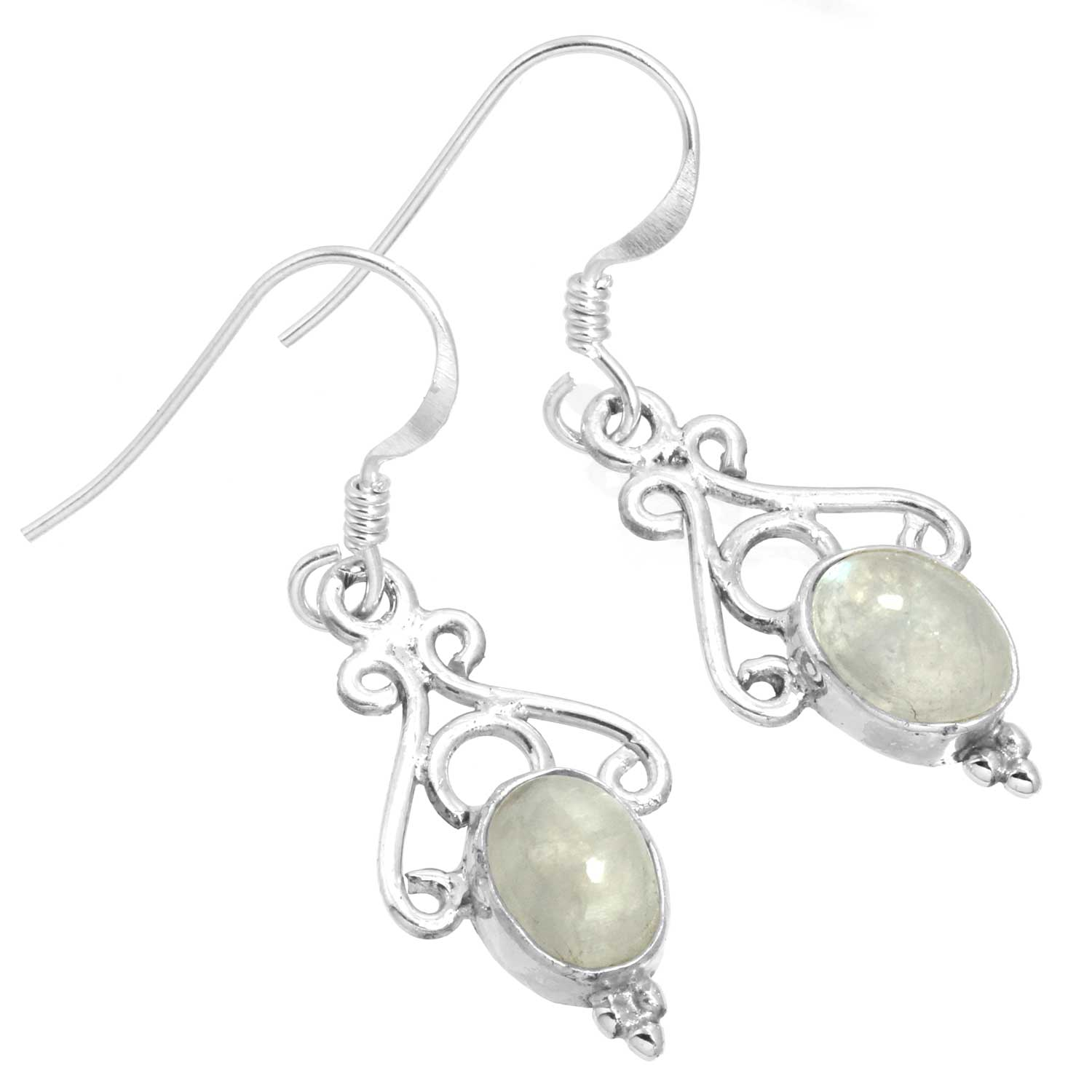 Sterling silver Rainbow Moonstone (7x10mm) Earring ID=ee816rm