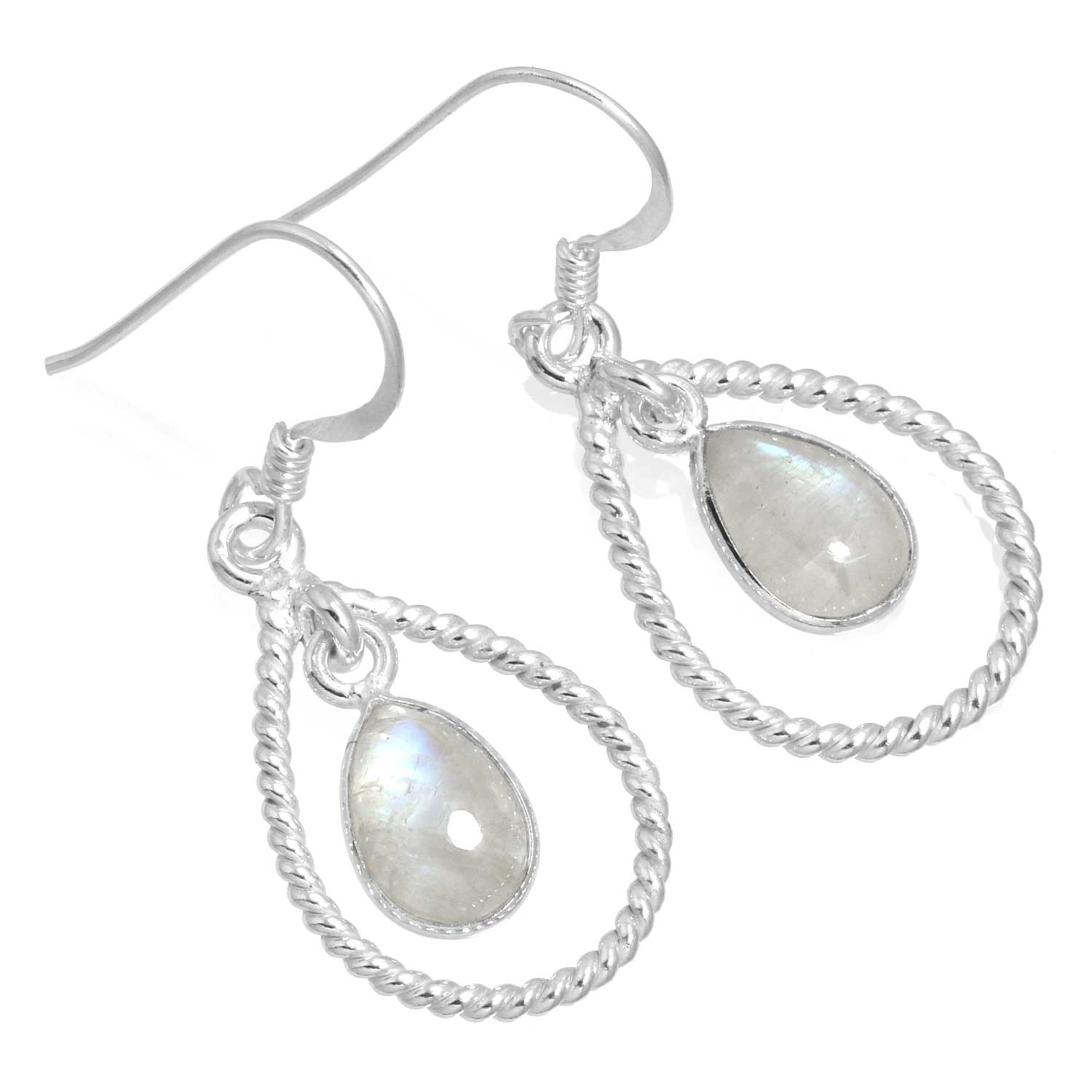 Sterling silver Rainbow Moonstone (7x10mm) Earring ID=ee825rm