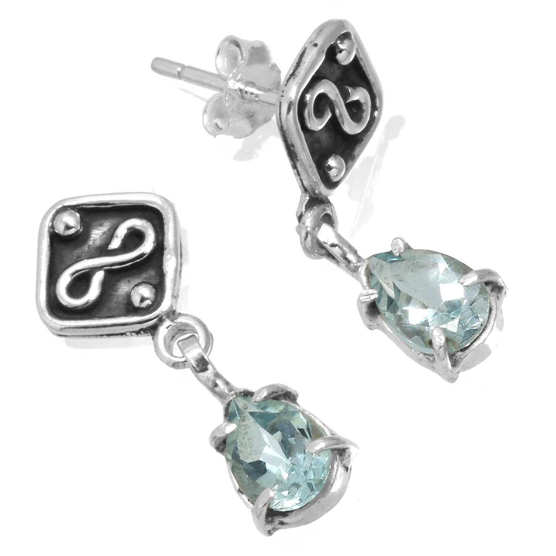 Sterling silver Blue Topaz (3 ctw) Earring ID=ee830btpf