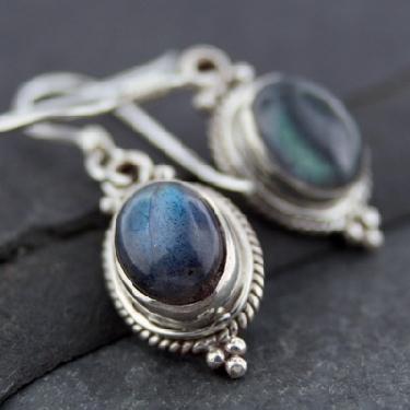 Sterling silver Labradorite (6x9mm) Earring ID=es202lb