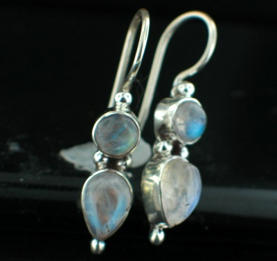 Sterling silver Rainbow Moonstone Earring ID=es217rm