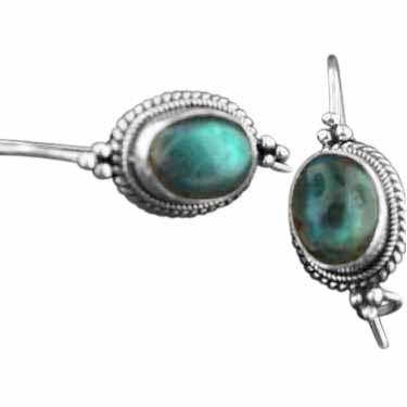 Sterling silver Labradorite (7 x 12mm) Earring ID=es222lb