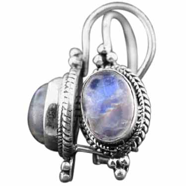 Sterling silver Rainbow Moonstone (6x9mm) Earring ID=es222rm