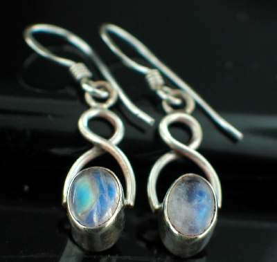 Sterling silver Rainbow Moonstone (6x9mm) Earring ID=es620rm