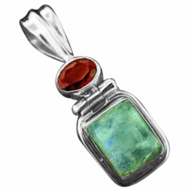 Sterling silver Rainbow Moonstone & Garnet Pendant ID=pn1139rm_grf