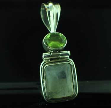 Sterling silver Rainbow Moonstone & Peridot Pendant ID=pn1139rm_prf