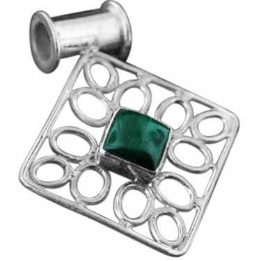 Sterling silver Malachite (15x20mm) Pendant ID=pn195ml