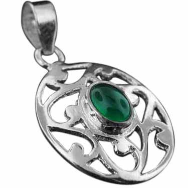 Sterling silver Green Onyx Pendant ID=pn343gx