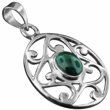 Sterling silver Malachite Pendant ID=pn343ml