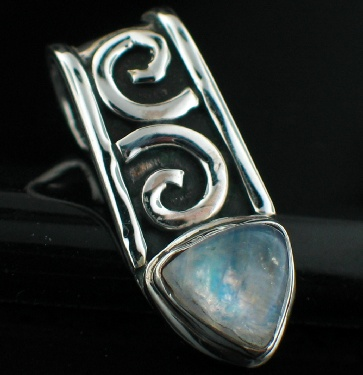 Sterling silver Rainbow Moonstone (7mm) Pendant ID=pn409rm