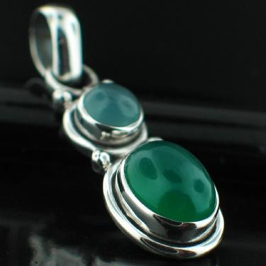 Sterling silver Blue Chalchodeny (bigger) &ogreen onyx pendant ID=pn45gx_bl