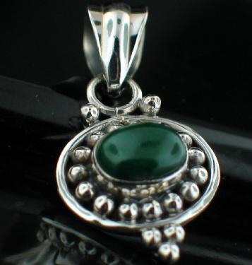 Sterling silver Malachite Pendant ID=pn462ml
