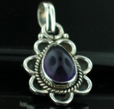 Sterling silver Amethyst Pendant ID=pn57ame