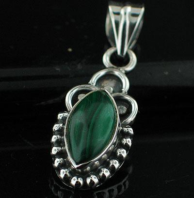 Sterling silver Malachite Pendant ID=pn723bml