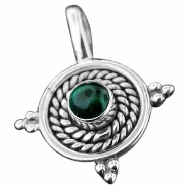 Sterling silver Malachite Pendant ID=pn86ml