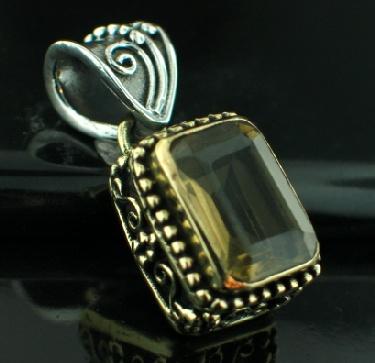 Sterling silver SB - Lemon Quartz (30ctw) Pendants_SilverBrass ID=psb474lt