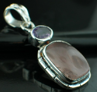 Sterling silver SP - Rose Quartz (10x15mm) & Amethyst (3 ctw) Pendants_SilverPlated ID=psp33rs_amef
