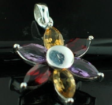 Sterling silver SP - Amethyst & Garnet & Citrine (30ctw) Pendants_SilverPlated ID=psp467mx